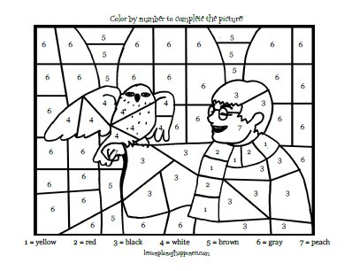 Harry Potter and Hedwig Color by Number Lesson Plan of Happiness