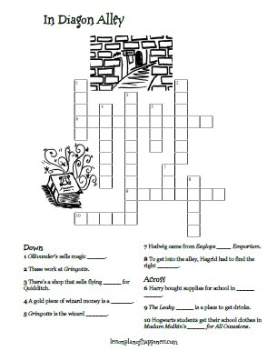 Harry Potter Diagon Alley Crossword Puzzle