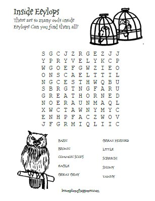 Inside Eeylops Owl Emporium Wordsearch