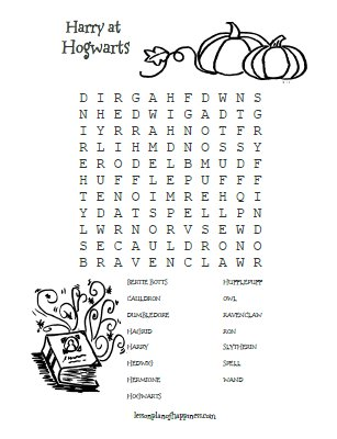Harry Potter Worksheet: Hogwarts Wordsearch