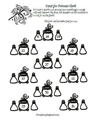 Potions: Ten More or Less (Harry Potter Math Worksheet)