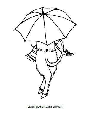 Mr. Tumnus' Umbrella Coloring Page