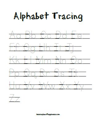 Alphabet Tracing free printable worksheet