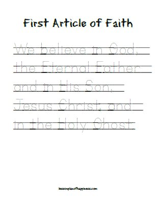 First Article of Faith Tracing - free copywork printable