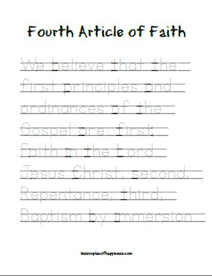 Fourth article of faith - tracing worksheet
