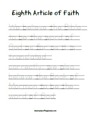 Eighth Article of Faith - Tracing Worksheet