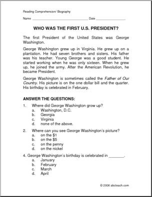 George Washington Reading Comprehension Worksheet