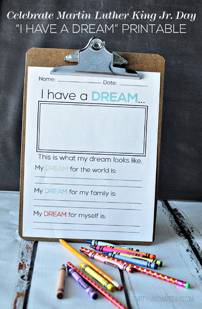 I Have a Dream Printable - Free Martin Luther King Jr Mini Unit
