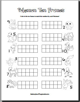 Pokemon Ten Frames Free Math Worksheet