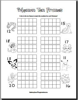 Pokemon Ten Frames Free Math Worksheet
