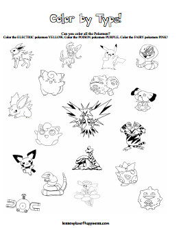 Color the Pokemon by Type Free Printable
