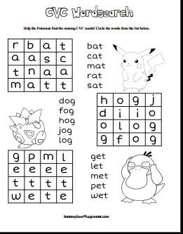 Pokemon CVC Word Search Free Printable