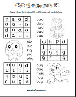 CVC Pokemon Word Search Free Printable