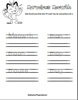 Trace and Write M Words with Meowth Free Pokemon Worksheet